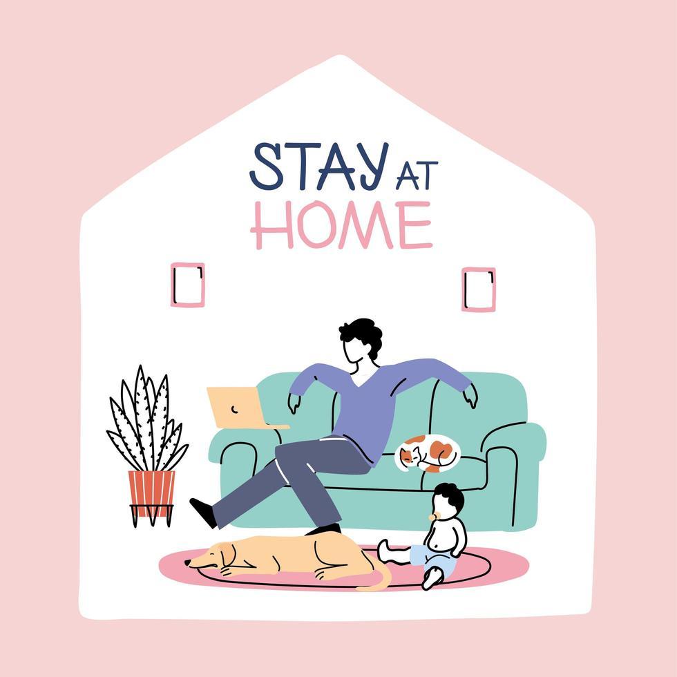 pai e filho ficam em casa devido à pandemia de coronavírus vetor