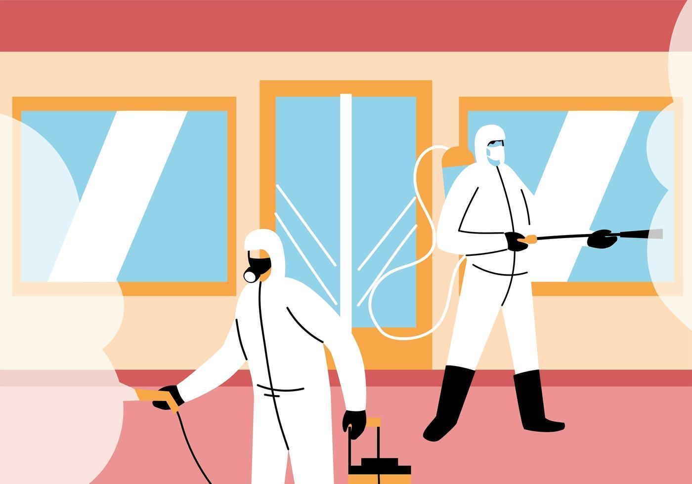 homens usam traje de proteção, conceito de limpeza e desinfecção vetor