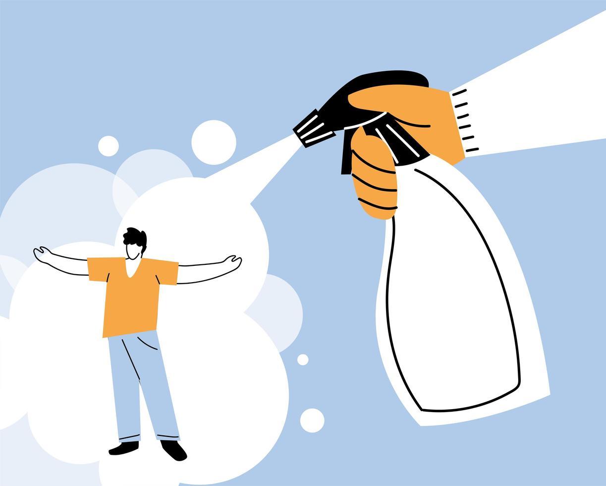 mão com frasco de spray, limpeza e desinfecção de coronavírus vetor