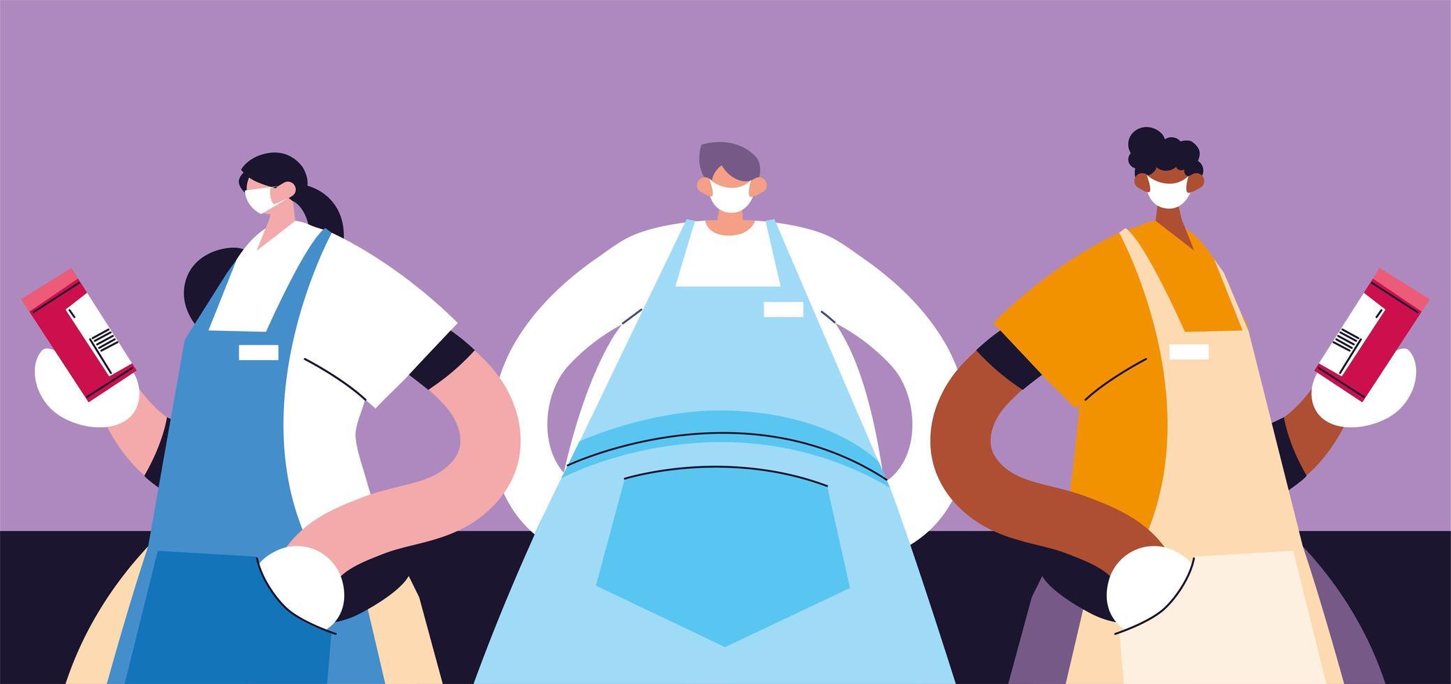 grupo de garçons com máscara e uniforme vetor
