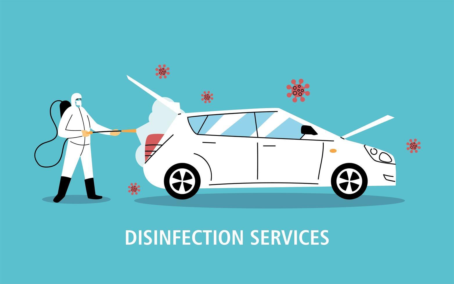desinfecção de carro de serviço por coronavírus ou covid 19 vetor