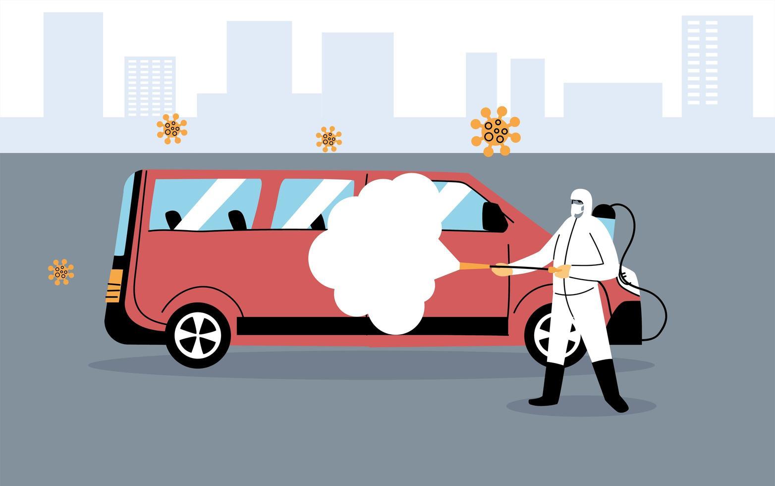 serviço de desinfecção de van por coronavírus ou covid 19 vetor