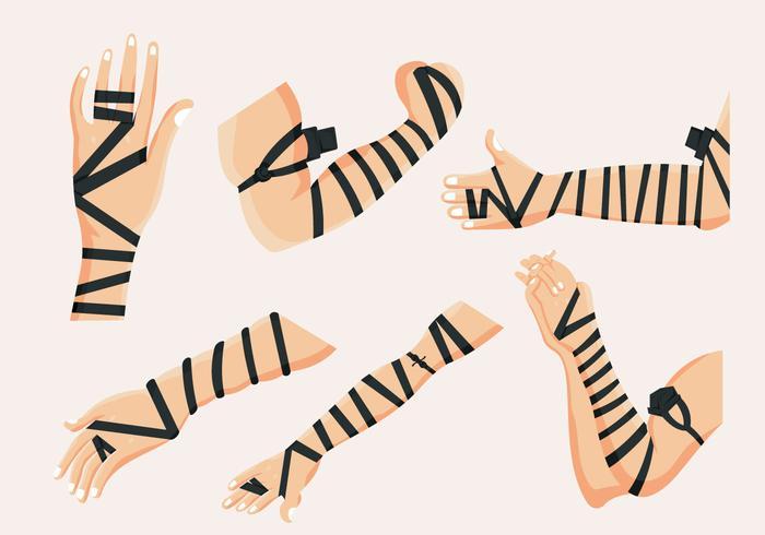 Black Leather Mãos Tefillin Vector