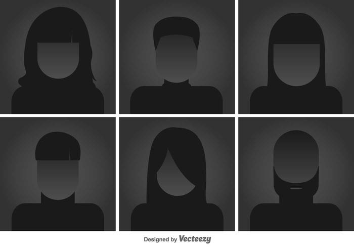 Headshots planas ícones do vetor