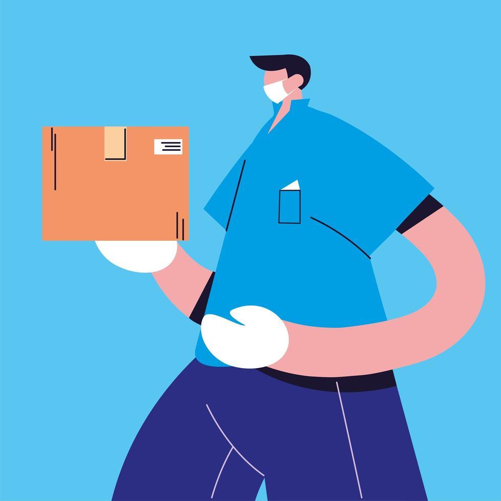entregador com máscara facial carrega caixa de papelão vetor