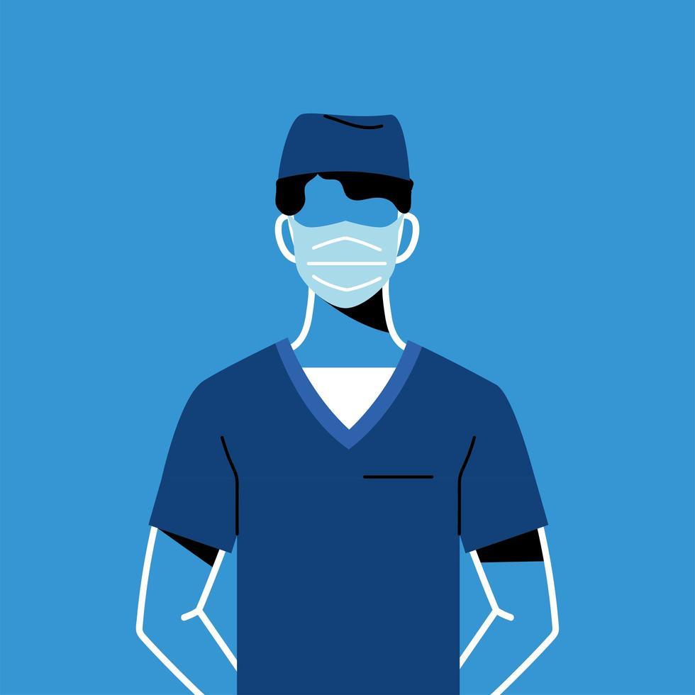 médico masculino com máscara e uniforme vetor