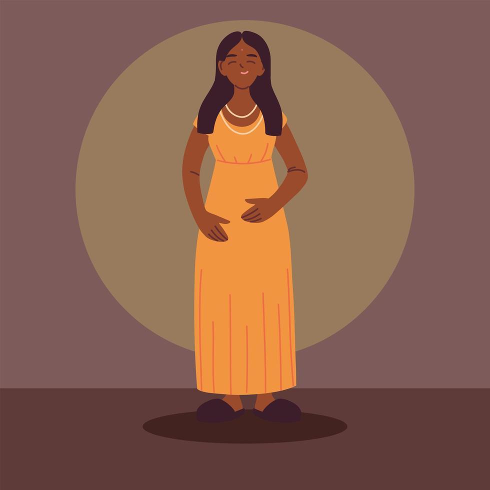 mulher indiana vestindo roupas casuais vetor