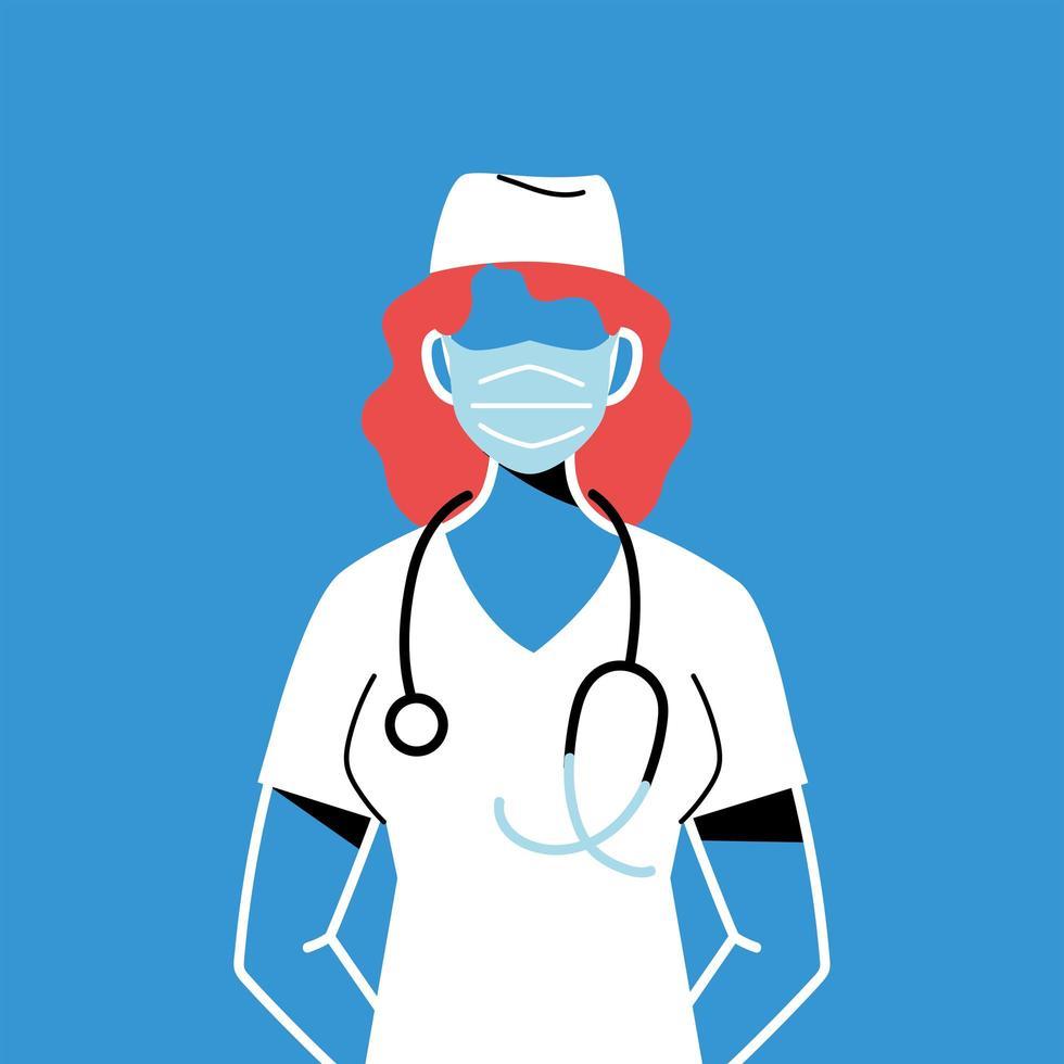 enfermeira com máscara e uniforme vetor