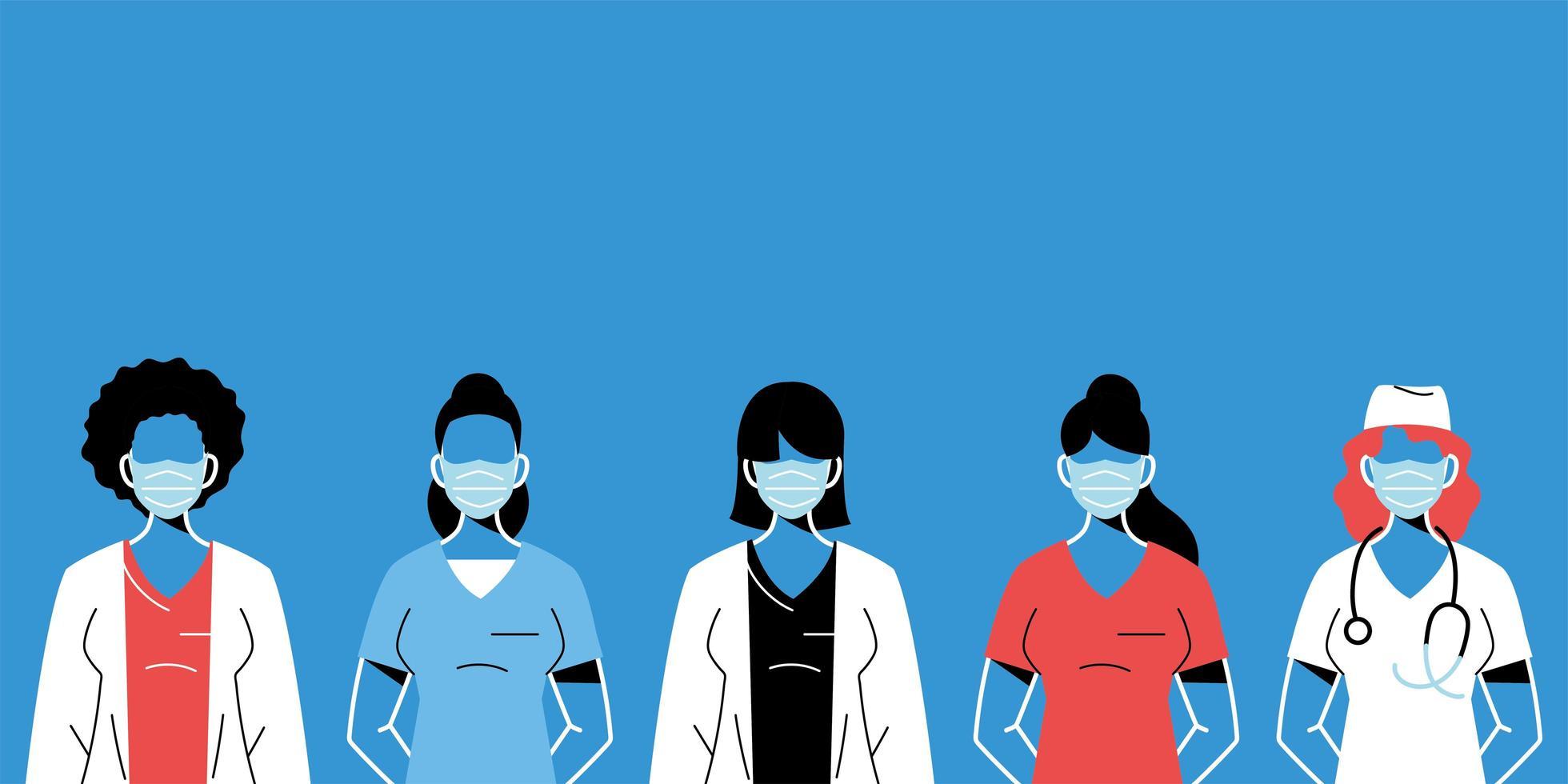 médicas com máscaras e uniformes vetor