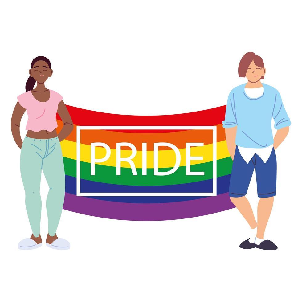 pessoas com bandeira do orgulho LGBT vetor