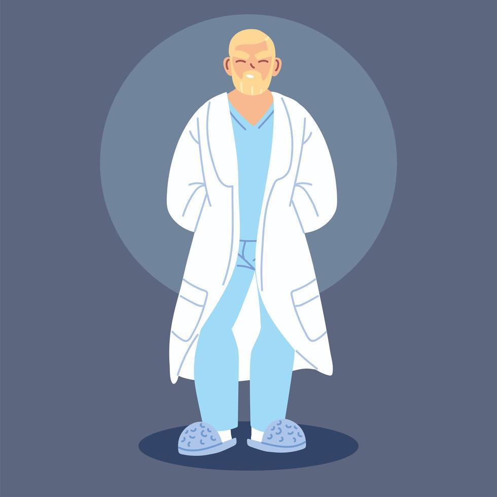 médico em pé com uma bata médica vetor