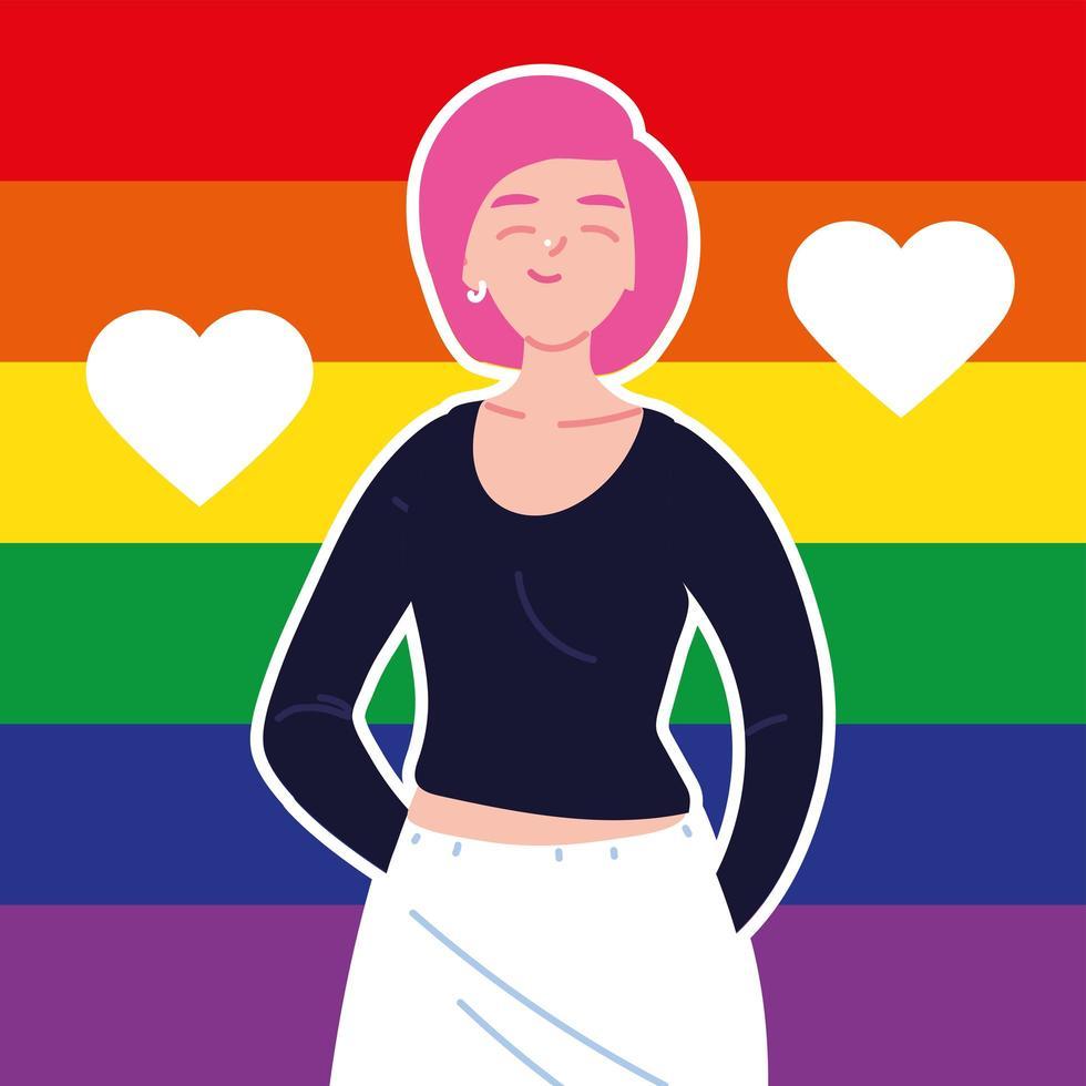 mulher com bandeira do orgulho gay no fundo, lgbtq vetor