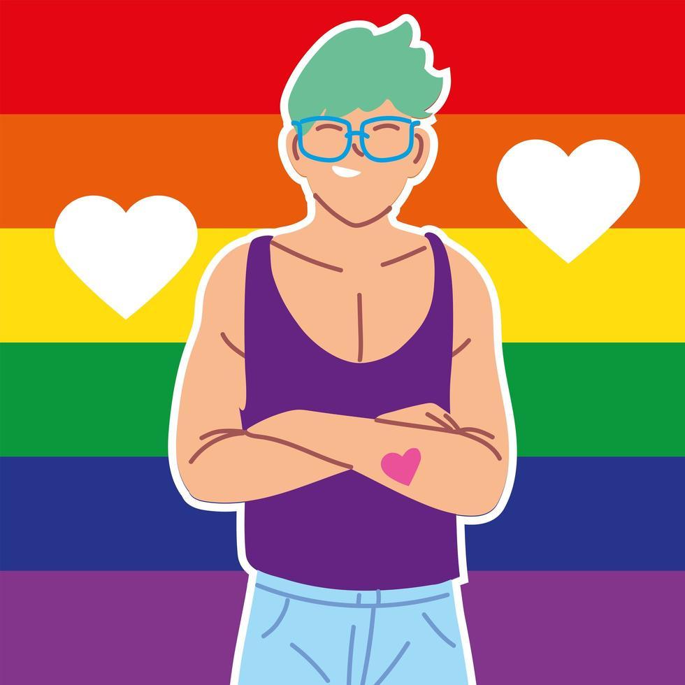 homem com bandeira do orgulho gay no fundo, lgbtq vetor