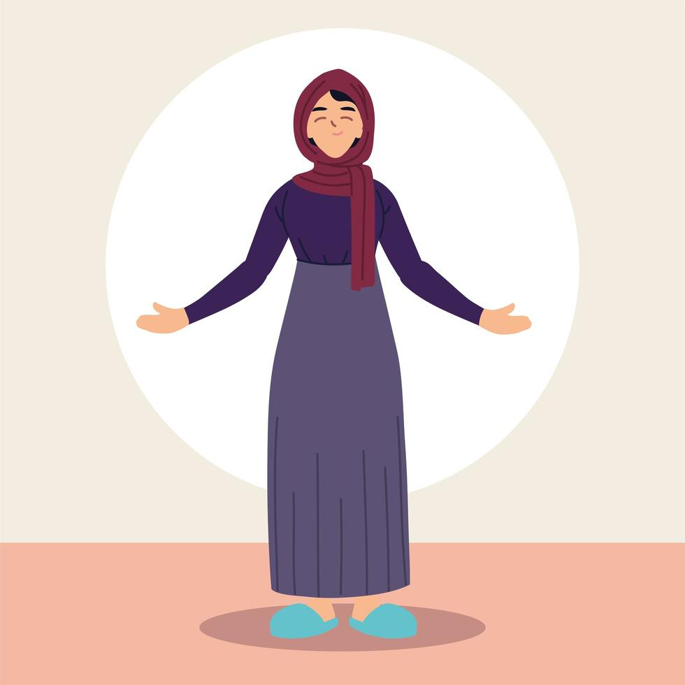 mulher muçulmana em trajes tradicionais vetor
