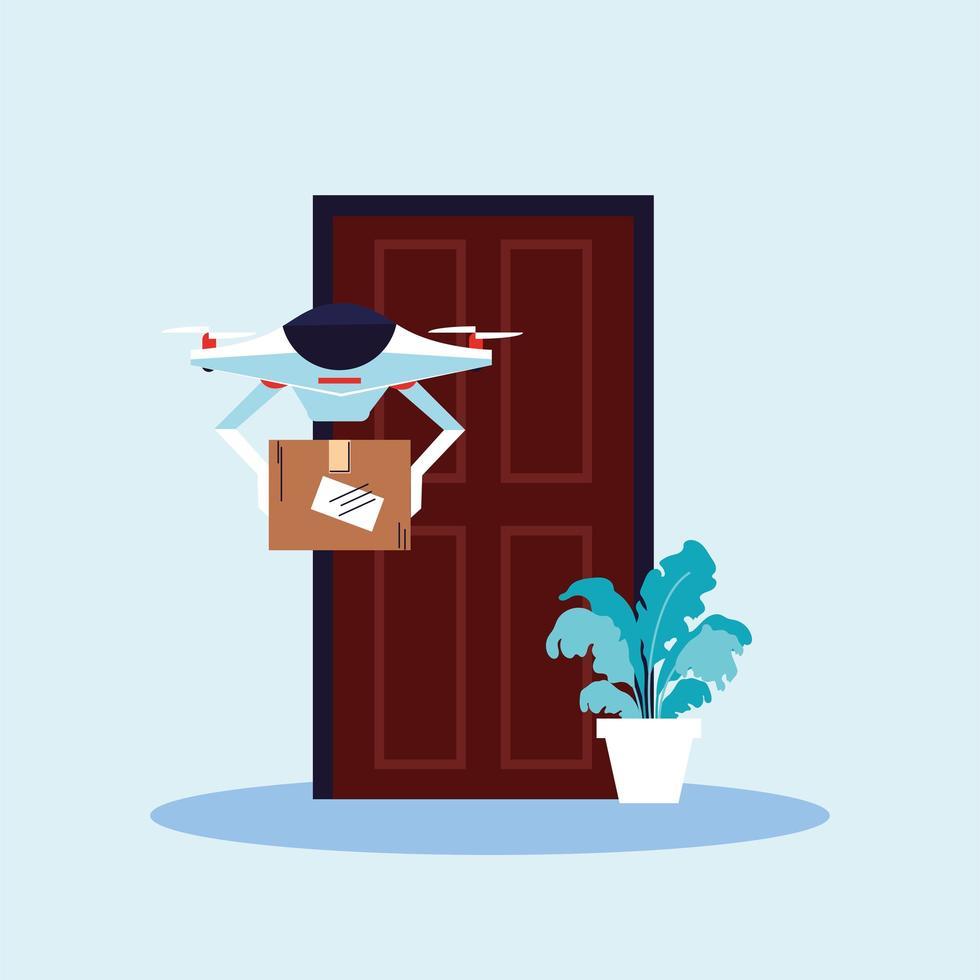 drone carrega a caixa de compras na porta vetor