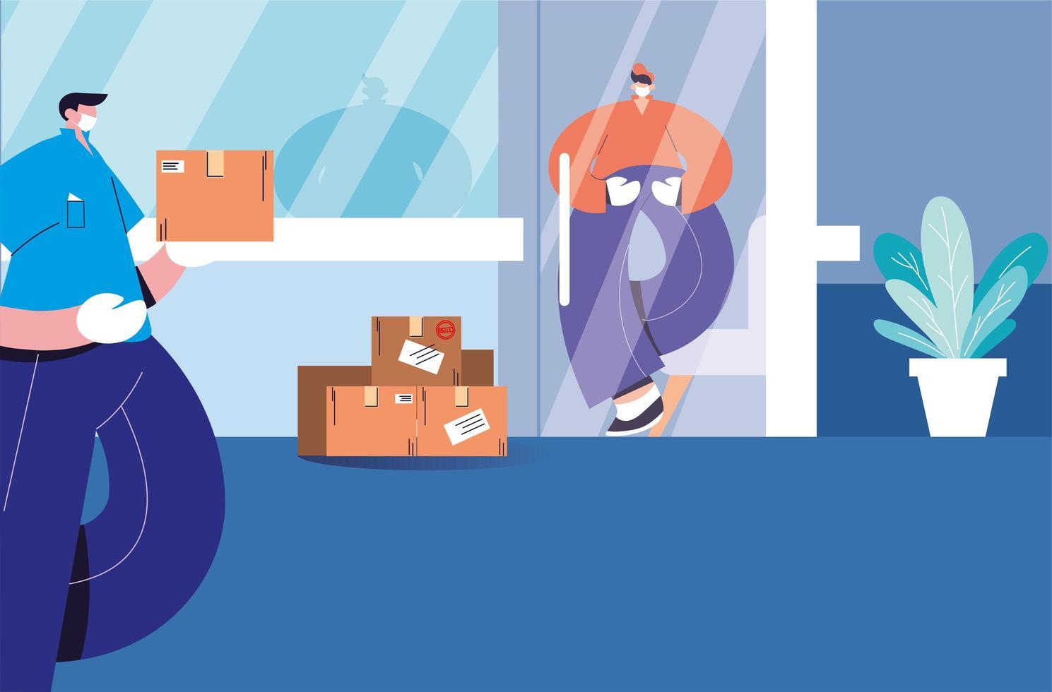 entregador deixa a caixa a uma distância segura vetor