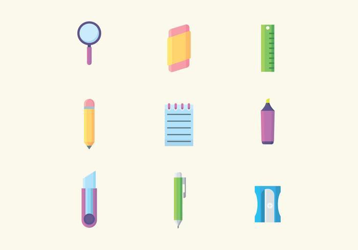Ícones de papelaria coloridos vetor