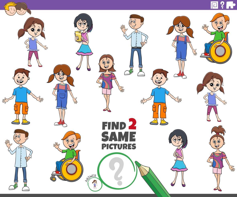 tarefa educacional de encontrar dois personagens infantis iguais vetor