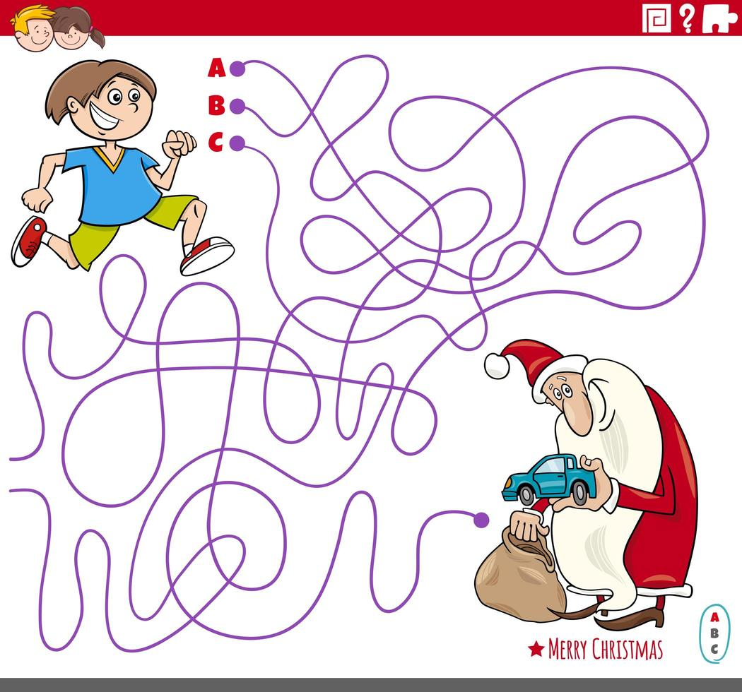 jogo de labirinto com desenhos animados de papai noel e menino vetor