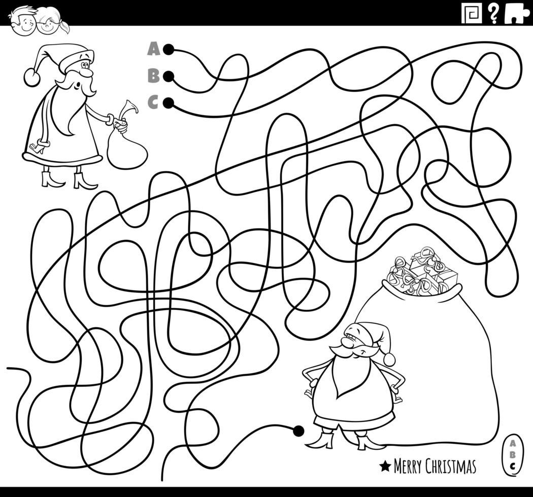 página do livro para colorir do labirinto de linhas com personagens do Papai Noel vetor