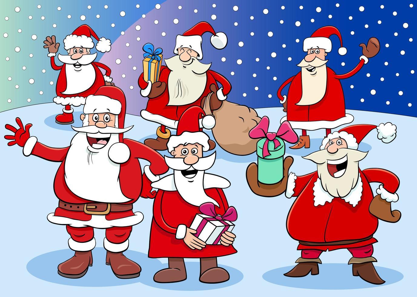 grupo de personagens do papai noel na época do natal vetor