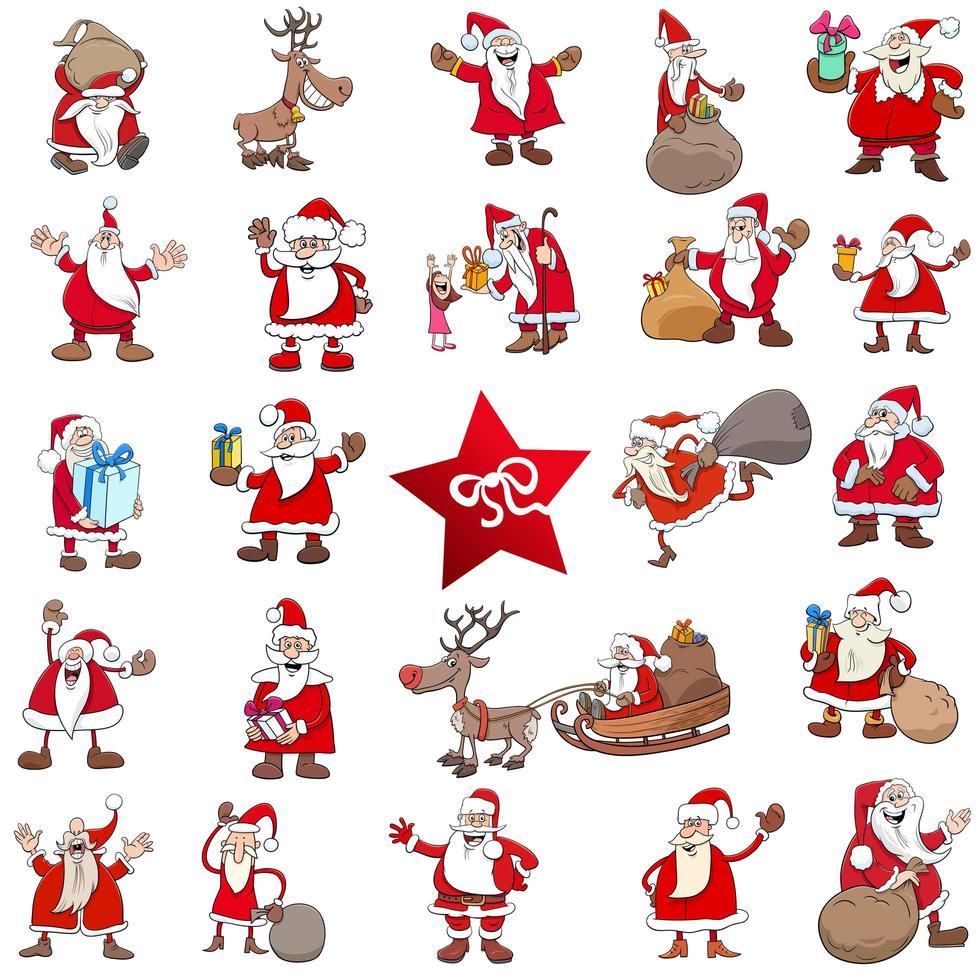 grande conjunto de personagens de desenhos animados de natal vetor