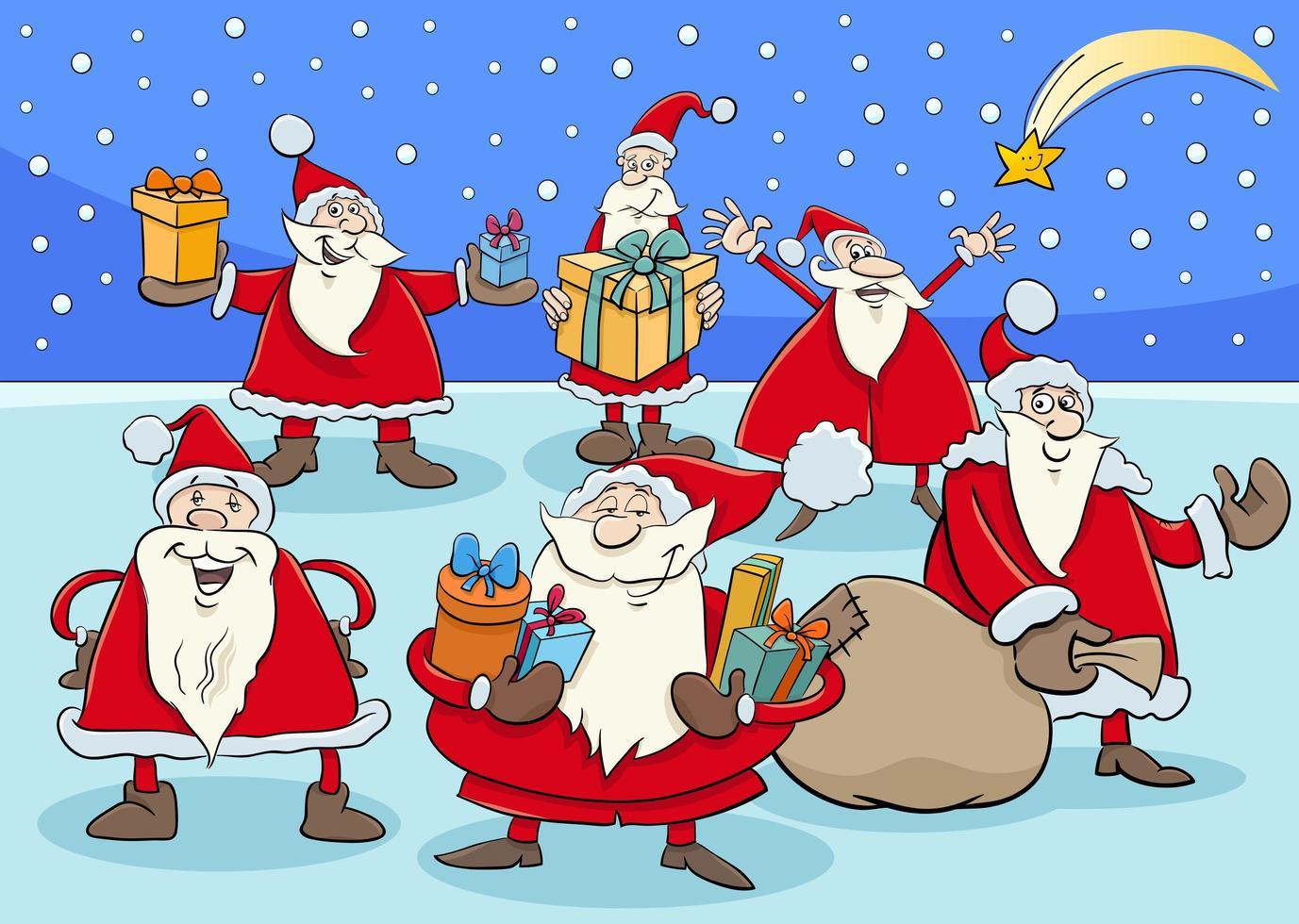grupo de personagens engraçados do papai noel na época do natal vetor