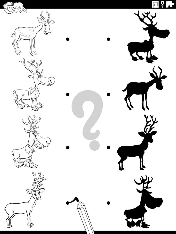 tarefa sombra com animais com chifres de desenho animado vetor