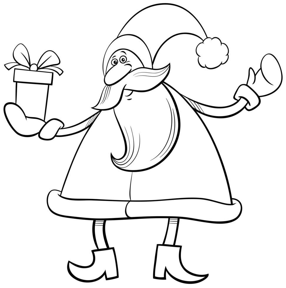 personagem de desenho animado de natal de papai noel com presente vetor