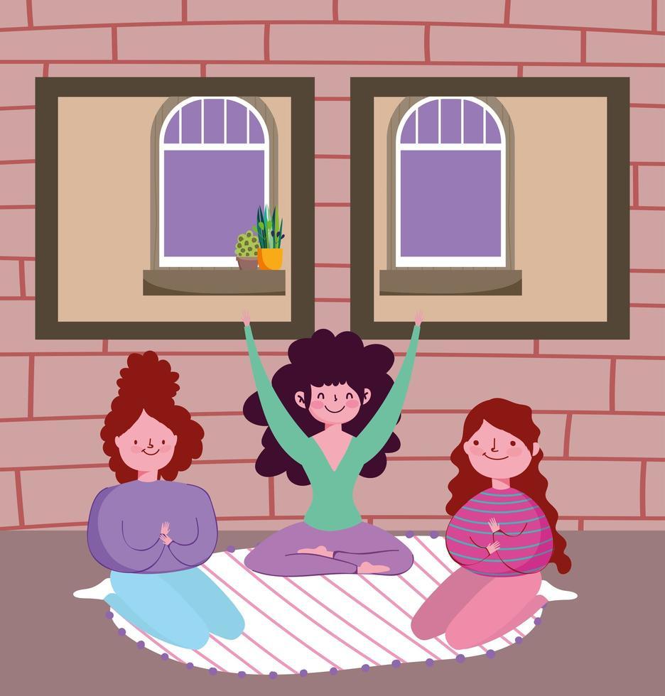 meninas praticando ioga dentro de casa vetor