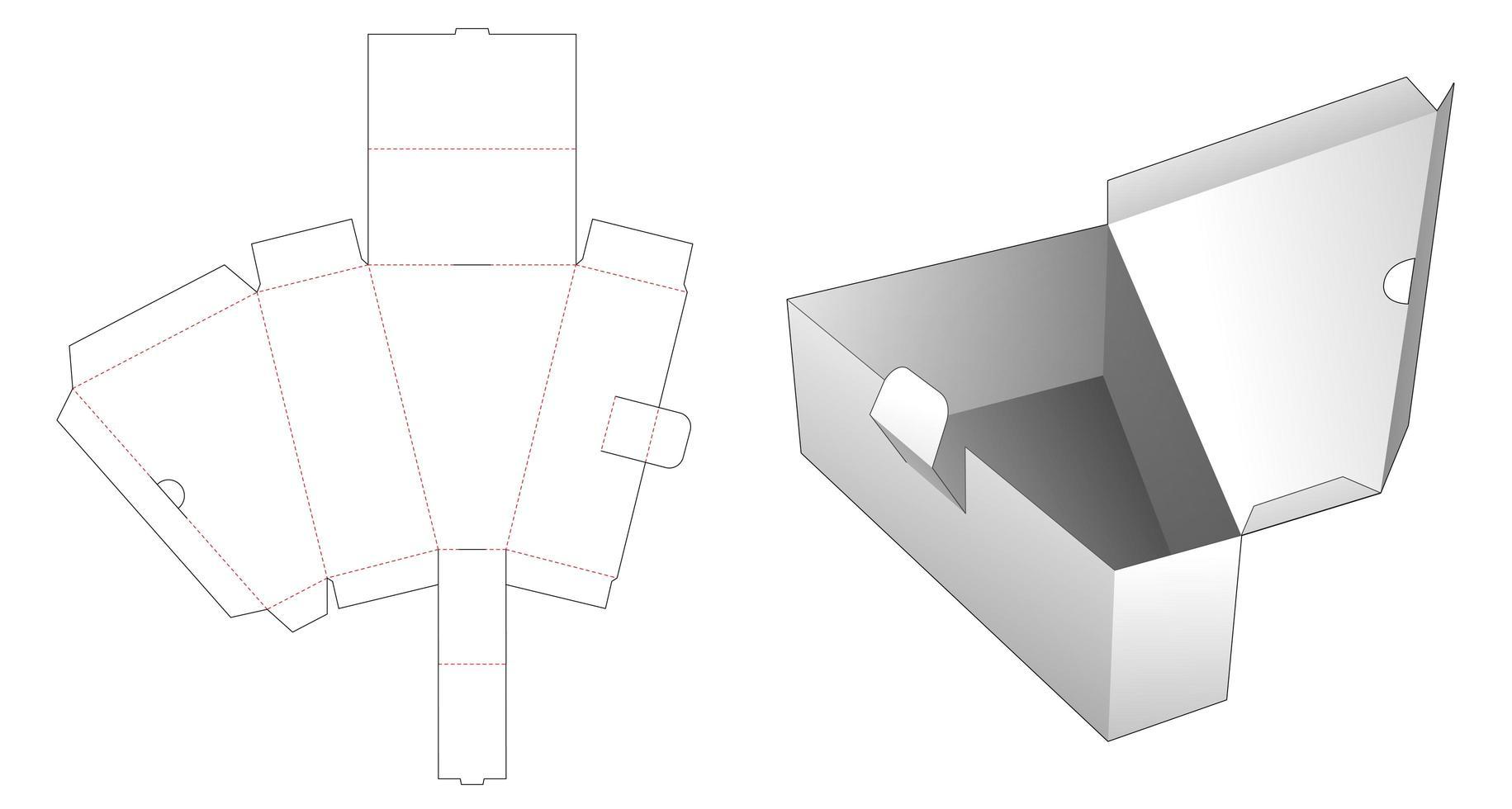 Molde para caixa triangular dobrável de 1 peça vetor
