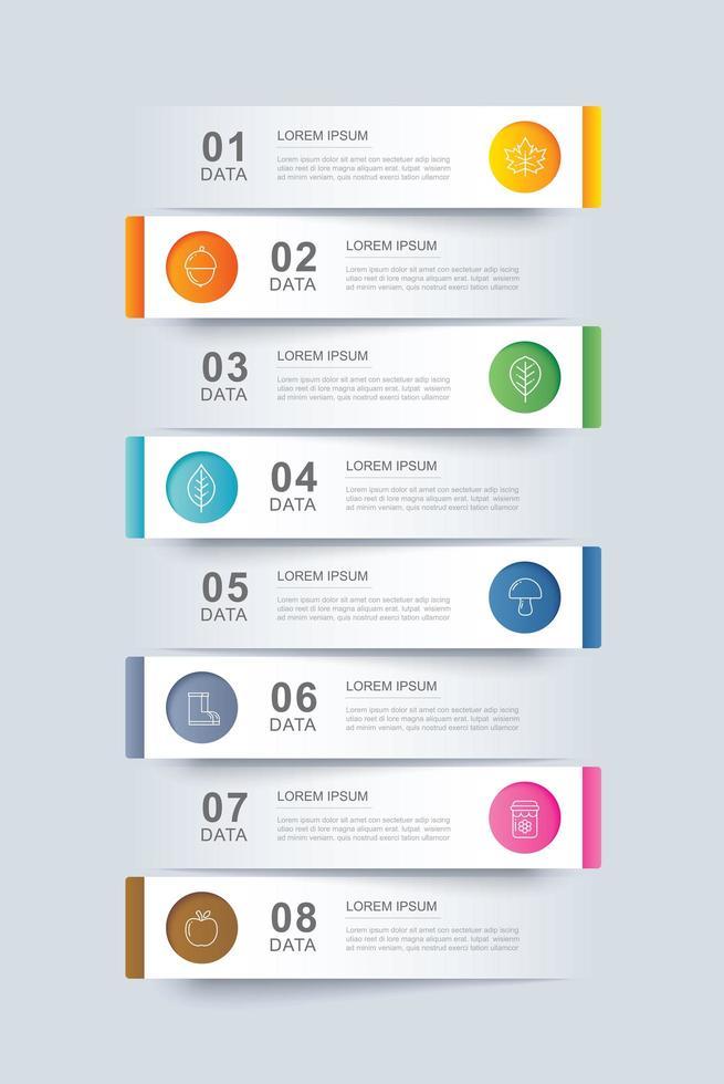 8 dados infográficos modelo de índice de guia de papel vetor