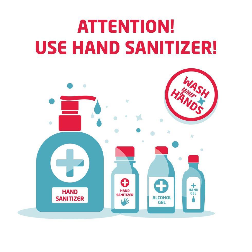 use desinfetante para as mãos, pôster de atenção vetor