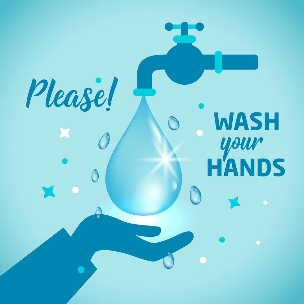 por favor, lave o conceito de sinal de mãos vetor