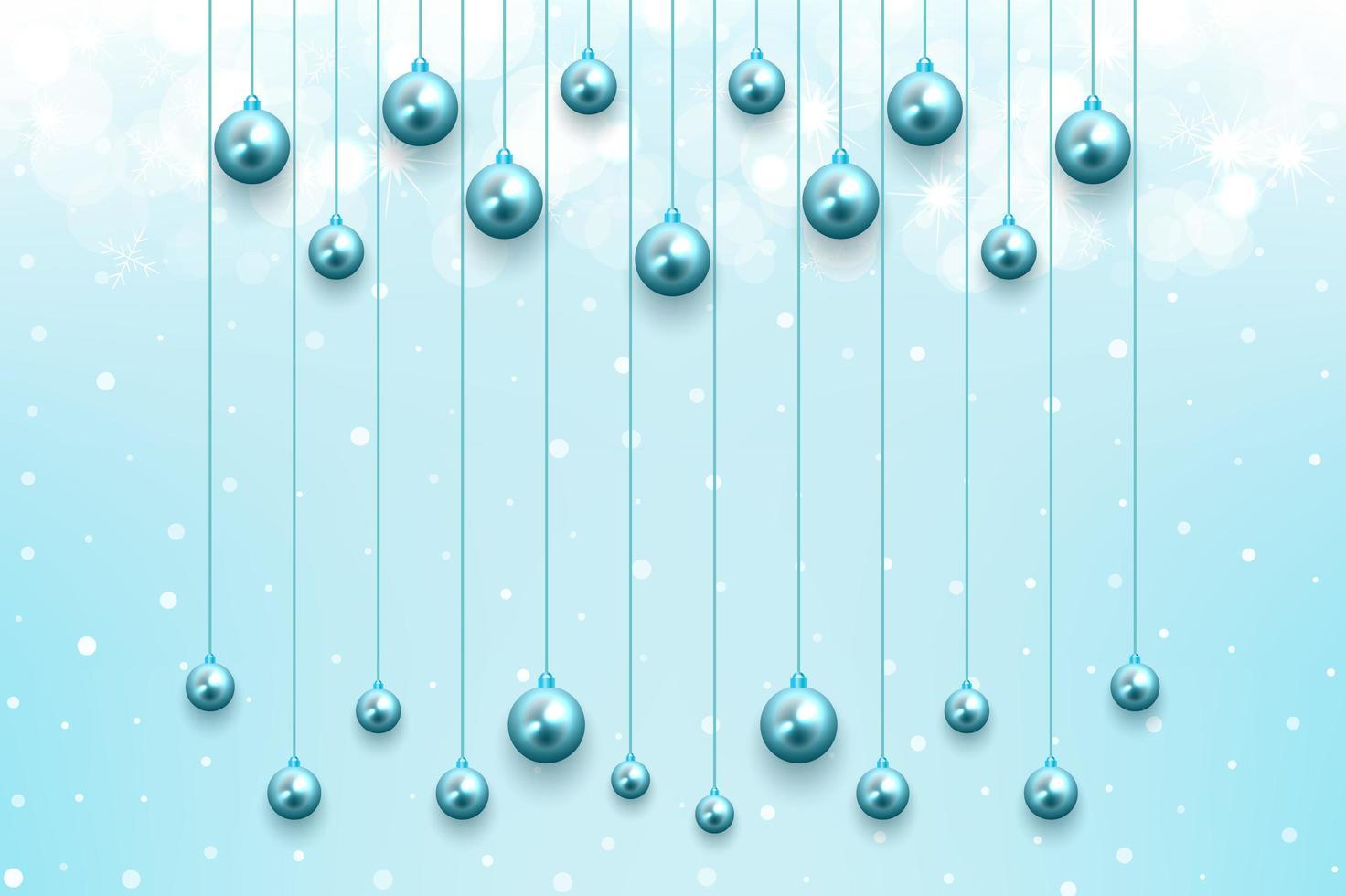 fundo de celebração de natal com enfeites azuis brilhantes pendurados vetor