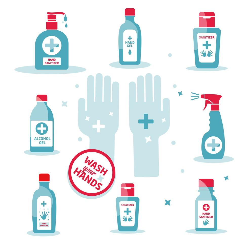 símbolo de desinfetante para as mãos, garrafa de álcool para conjunto de higiene vetor