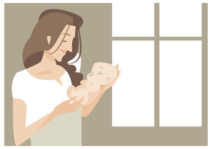 Mom bonita nova com seu bebê recém-nascido Vector