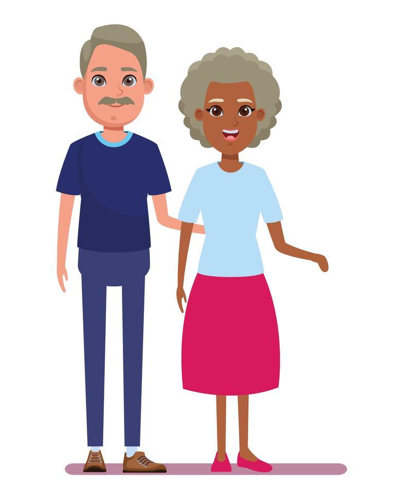 desenho animado de casal interracial de meia-idade vetor