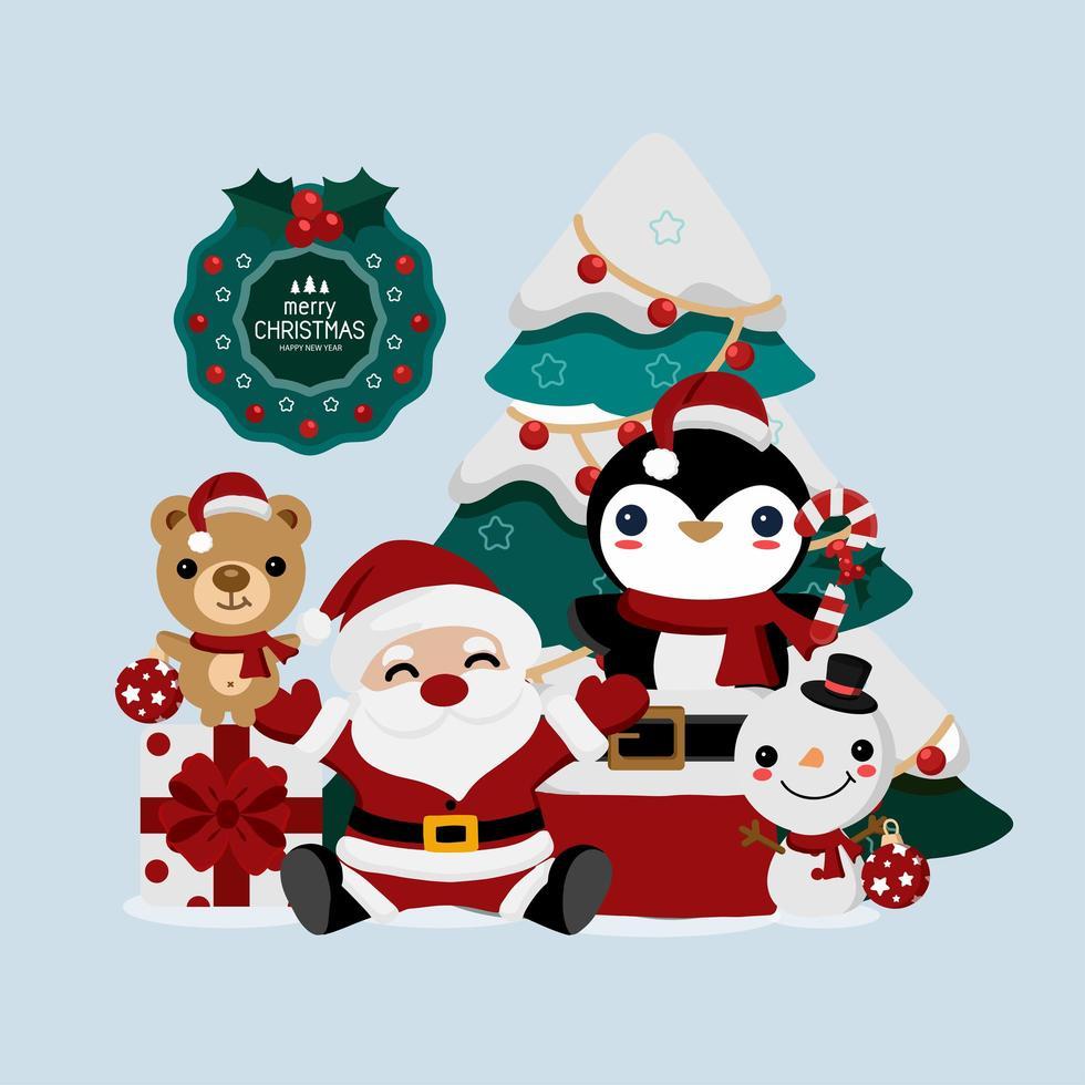 cartão de papai noel e animais de natal e ano novo vetor
