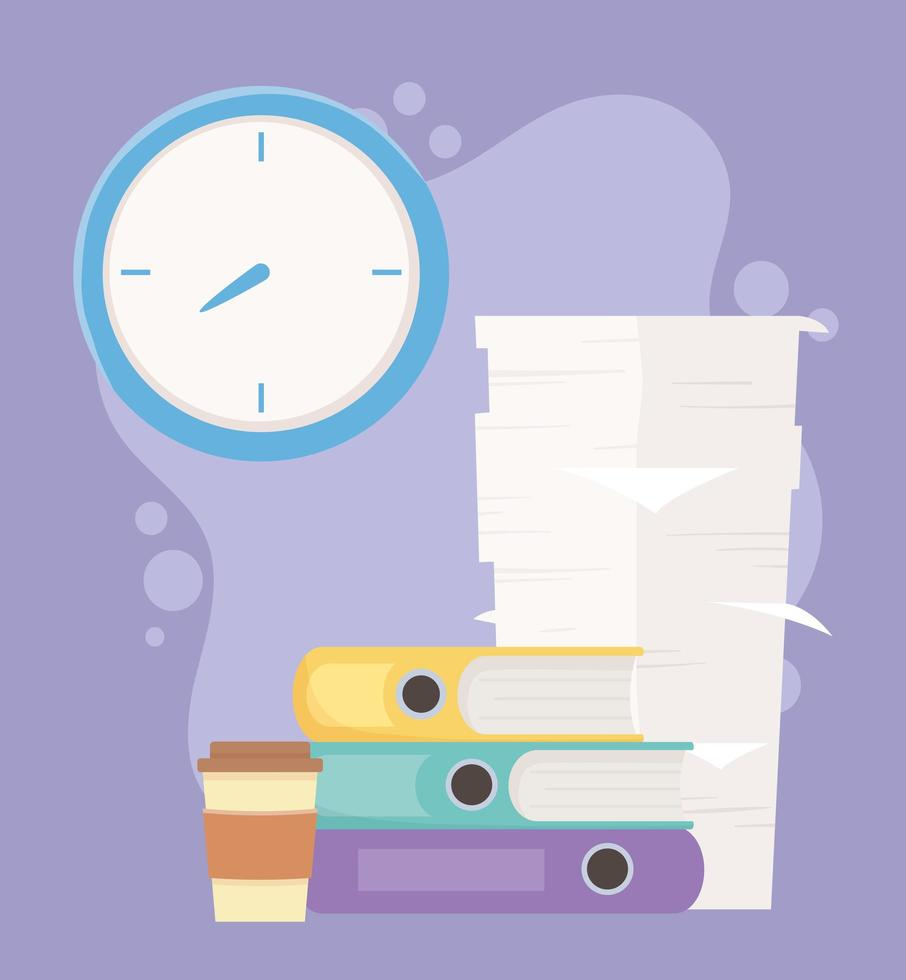 documentos de escritório com uma grande pilha de papéis vetor