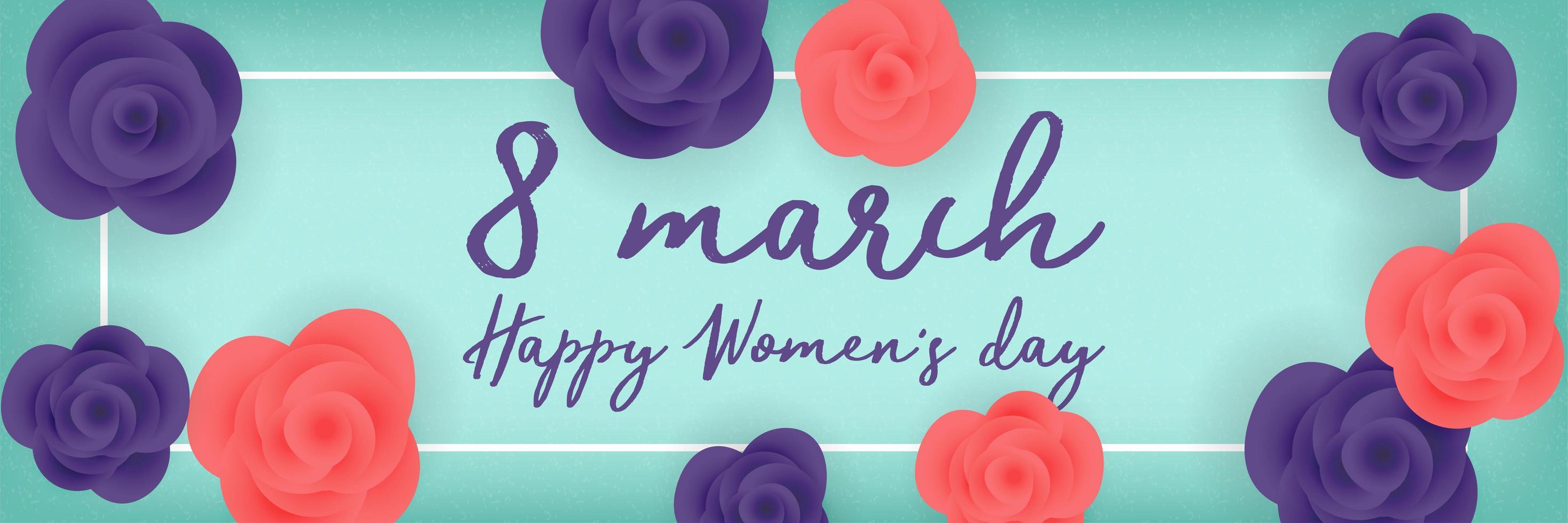 rosas do dia das mulheres em banner colorido vetor