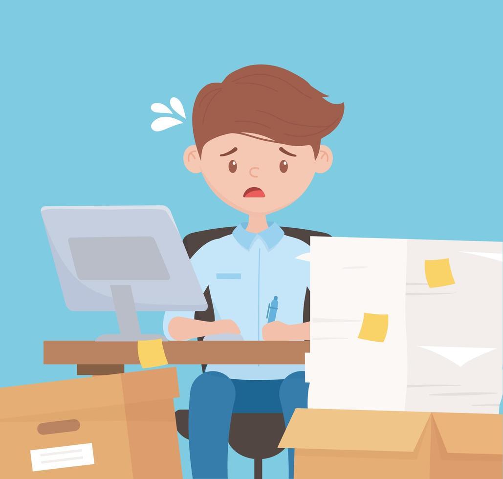 funcionário estressado trabalhando com uma pilha de papéis vetor