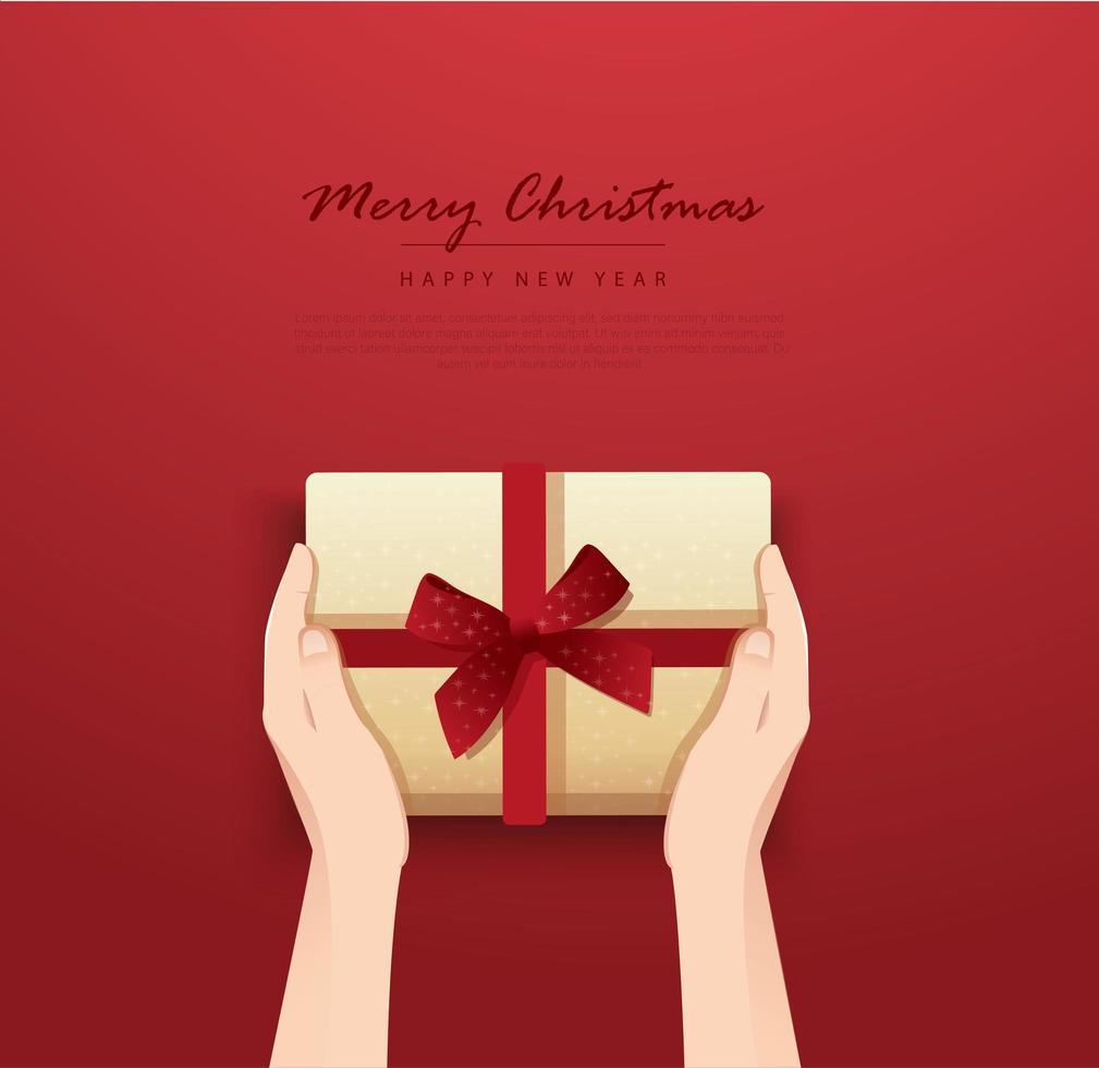 mãos segurando uma caixa de presente decorada com laço vetor