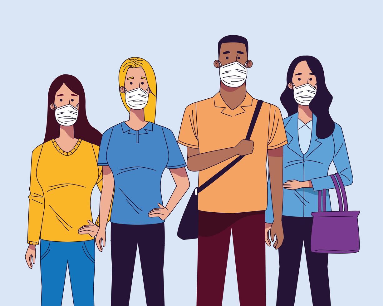 jovens inter-raciais usando personagens de máscaras médicas vetor