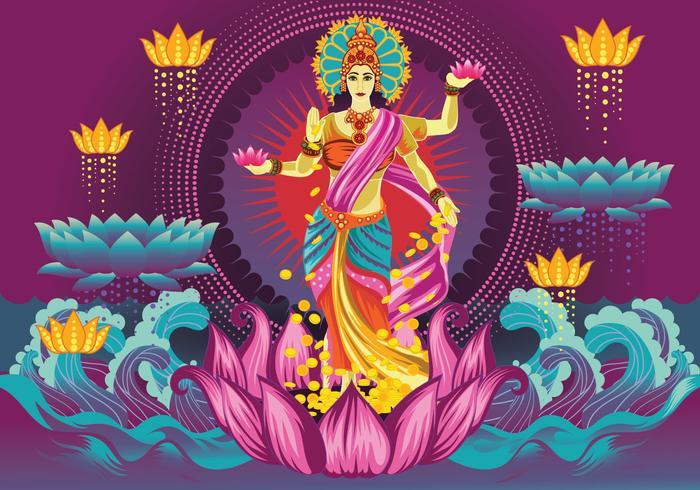 Free Vector Deusa Lakshmi roxo