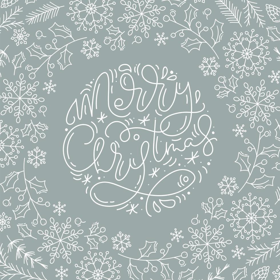 caligrafia de feliz natal e elementos de inverno de estilo de linha vetor