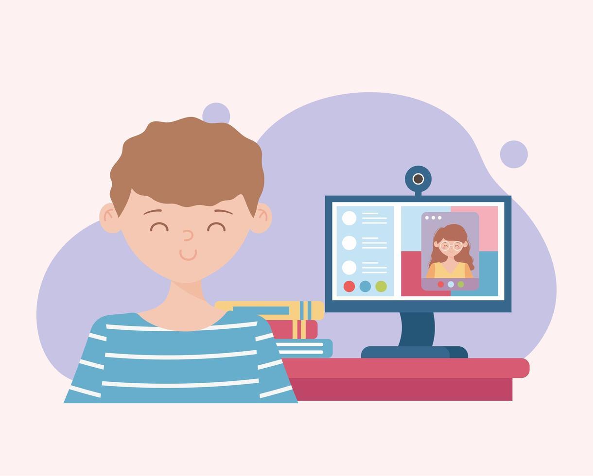 menino fazendo aula online no computador vetor