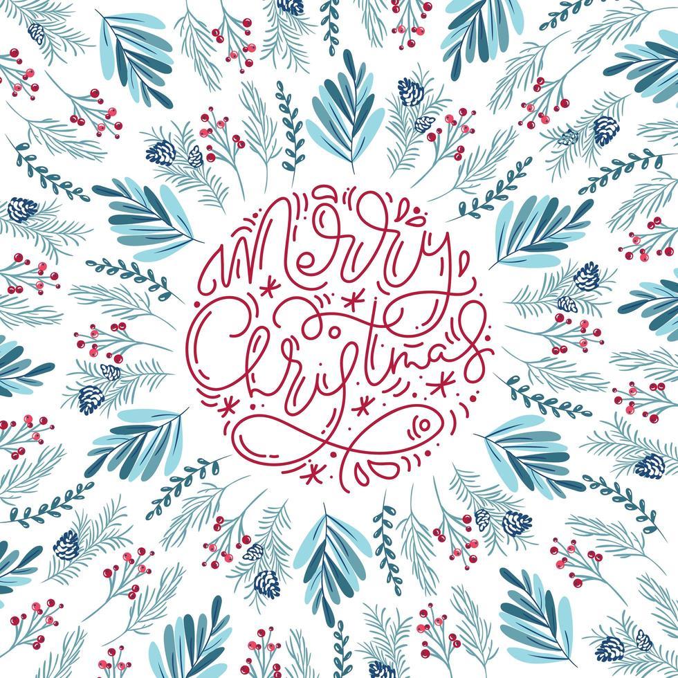 caligrafia monoline de feliz natal e elementos florais vetor