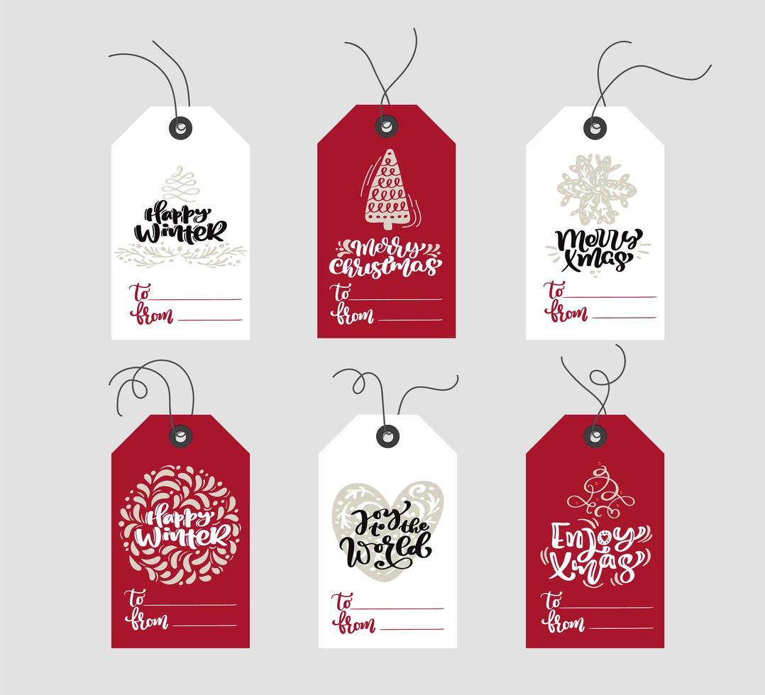 conjunto de etiquetas de elementos de natal escandinavo desenhadas à mão vetor