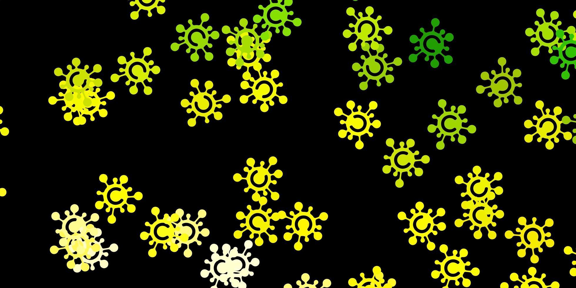 pano de fundo verde e amarelo com símbolos de vírus. vetor